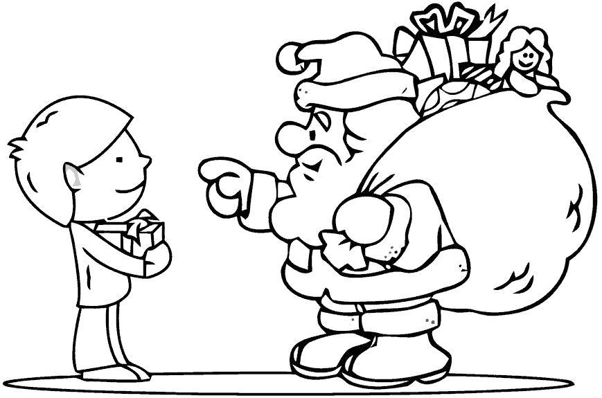 Раскраска Санта подарил подарок. Скачать .  Распечатать