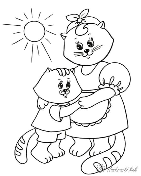 Раскраска Танец с мамой. Скачать кошка, Котенок.  Распечатать Домашние животные