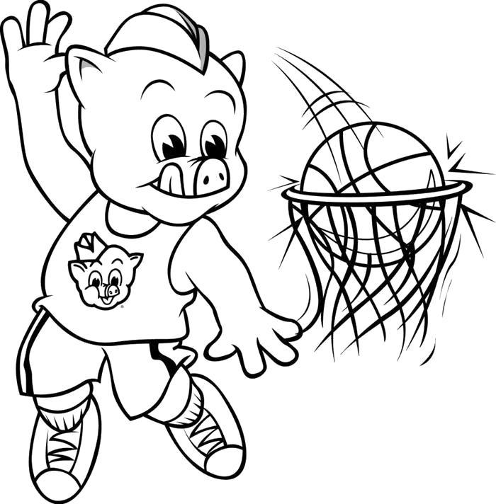 Раскраска  поросенок поросенок, спорт, баскетбол, кольцо, мяч. Скачать Баскетбол.  Распечатать Баскетбол