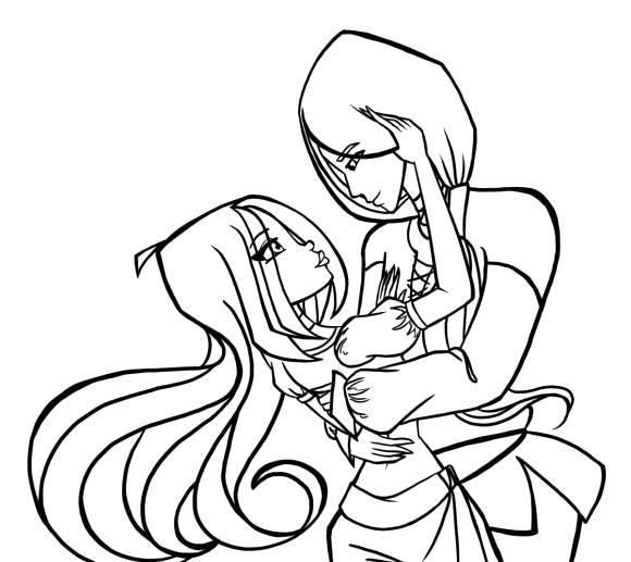 Раскраска Флора и её парень. Скачать Винкс.  Распечатать Винкс