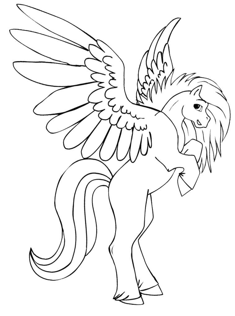 Раскраска Прекрасная лошадка с крыльями. Детские  с Пегасом.. Скачать Лошадка.  Распечатать Лошадка