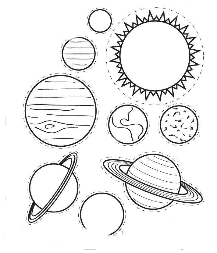 Раскраска Солнечная система. Скачать Планеты.  Распечатать Планеты