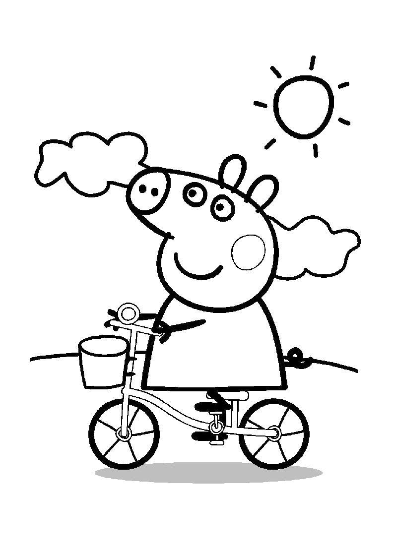 Раскраска Свинка Пеппа едет на велосипеде. Скачать Пеппа.  Распечатать Пеппа