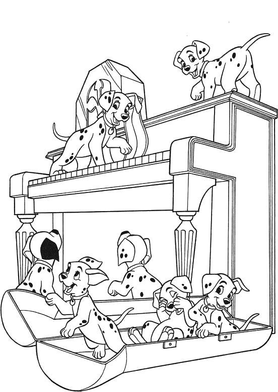 Раскраска  101 далматинец, собаки играют с пианино. Скачать 101 далматинец.  Распечатать 101 далматинец