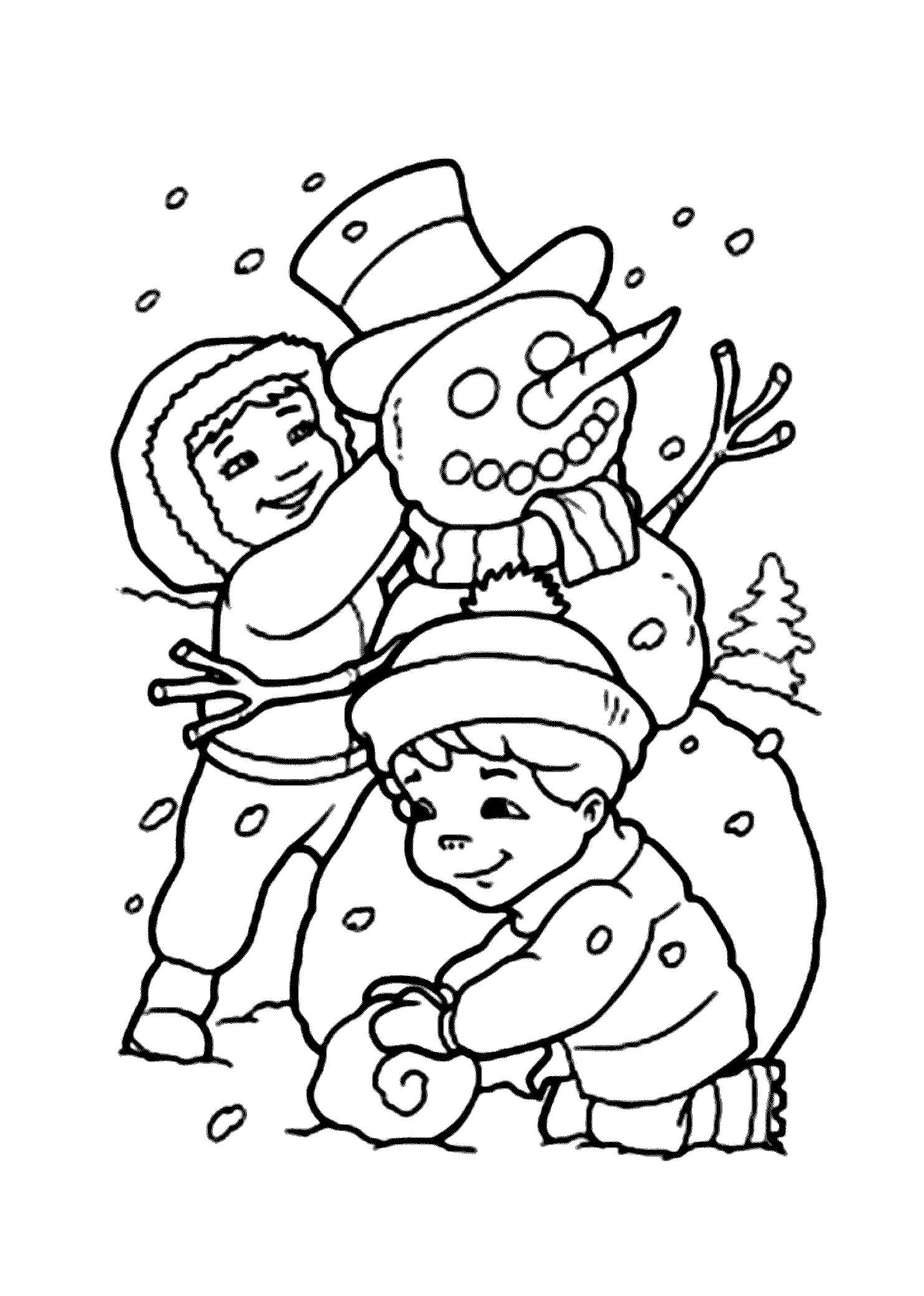 Раскраска Дети лепят снеговика. Скачать .  Распечатать