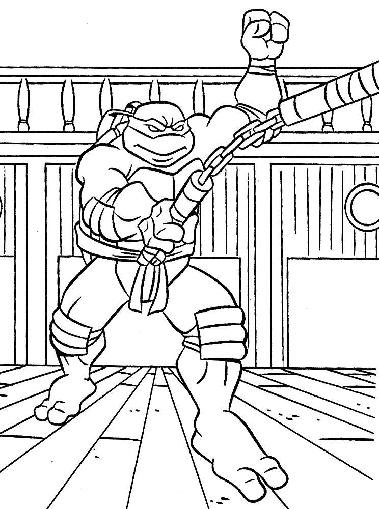 Раскраска  черепашки ниндзя д. Скачать Микеланджело.  Распечатать Черепашки ниндзя