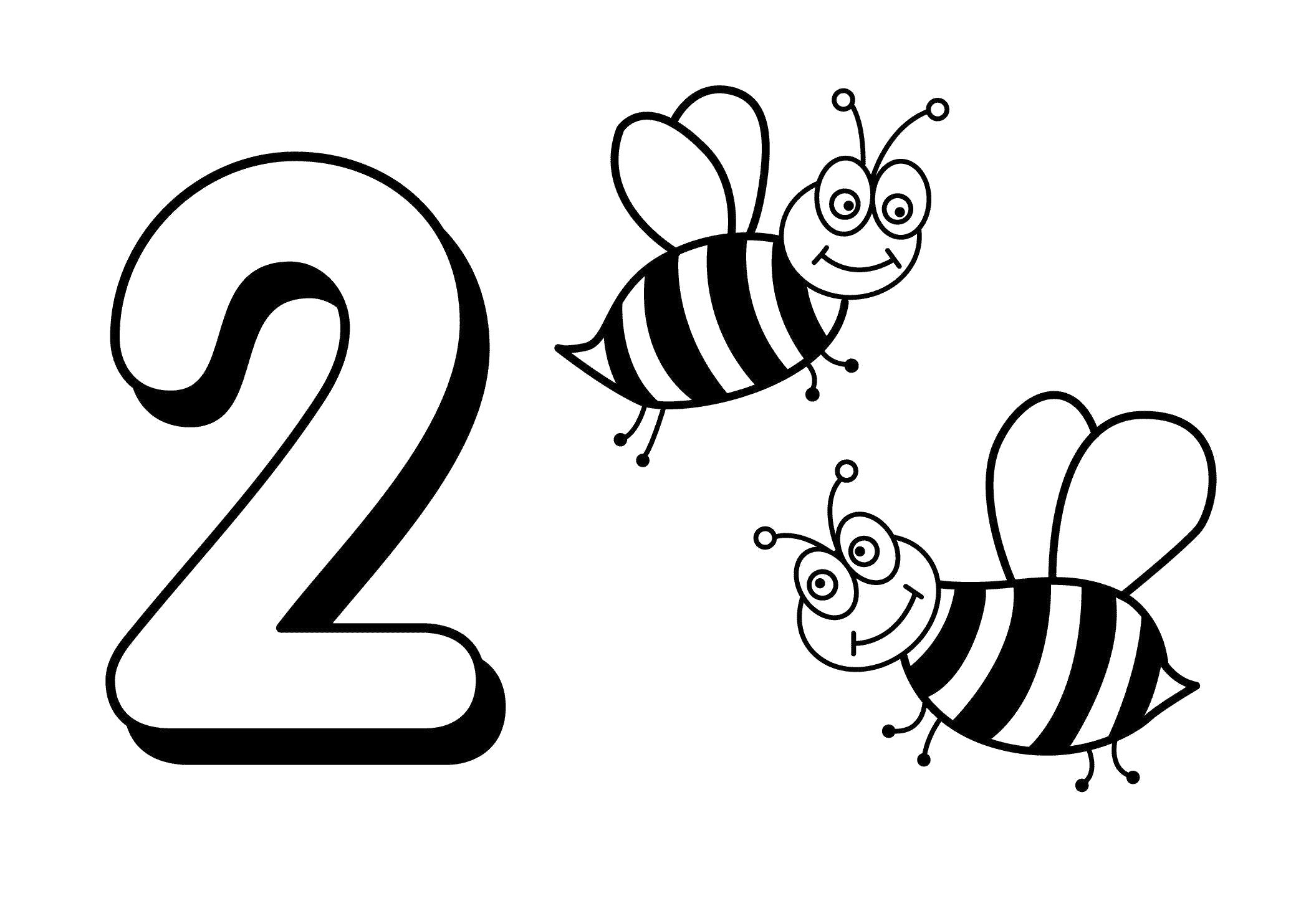 Раскраска Две Пчелки. Скачать Цифра.  Распечатать Цифра