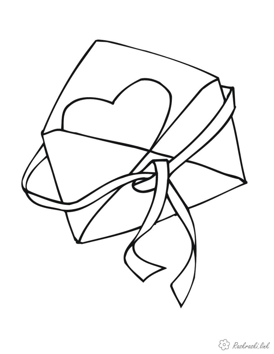 Раскраска  валентинка Конверт, валентинка, День Святого Валентина. Скачать день Святого Валентина.  Распечатать день Святого Валентина