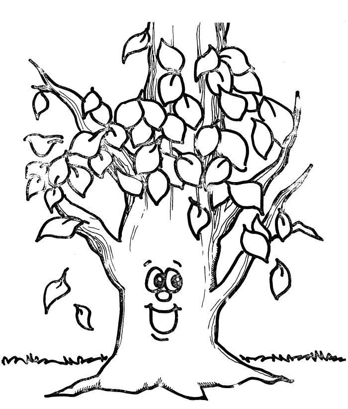 Раскраска Дерево осенью. Скачать деревья.  Распечатать деревья