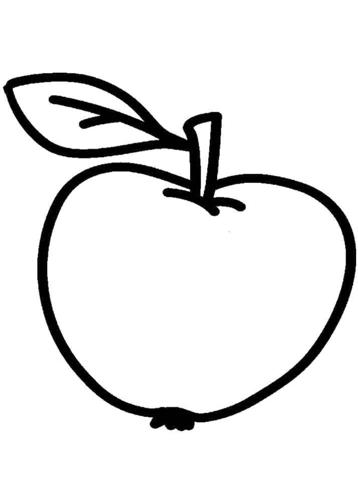 Раскраска Спелое яблоко. Скачать яблоко.  Распечатать Фрукты