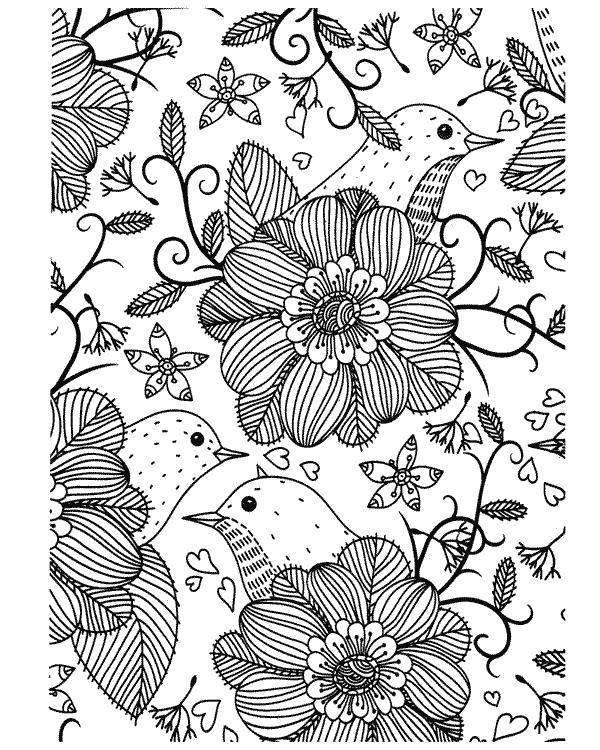 Раскраска Цветочки. Скачать узоры, цветы.  Распечатать антистресс