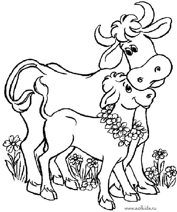 Раскраска  Корова и Теленок. Скачать Корова, Телёнок.  Распечатать Домашние животные