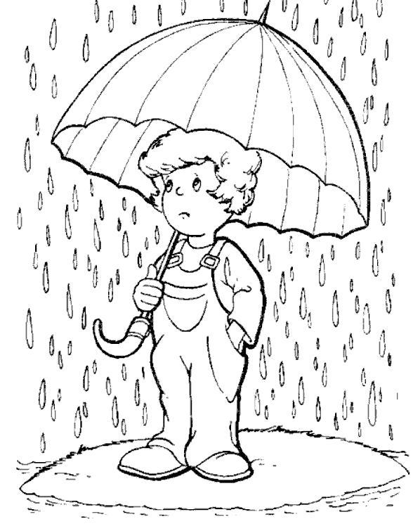 Раскраска Мальчик не любит дождь. Скачать дождь.  Распечатать дождь