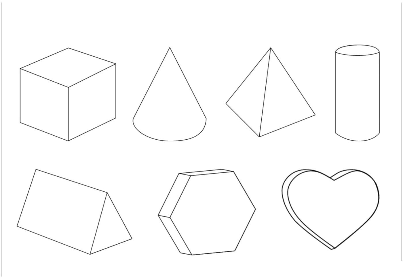 Название: Раскраска Раскраски геометрические фигуры из бумаги объемные геометрические фигуры контур, шаблоны. Категория: геометрические фигуры. Теги: .