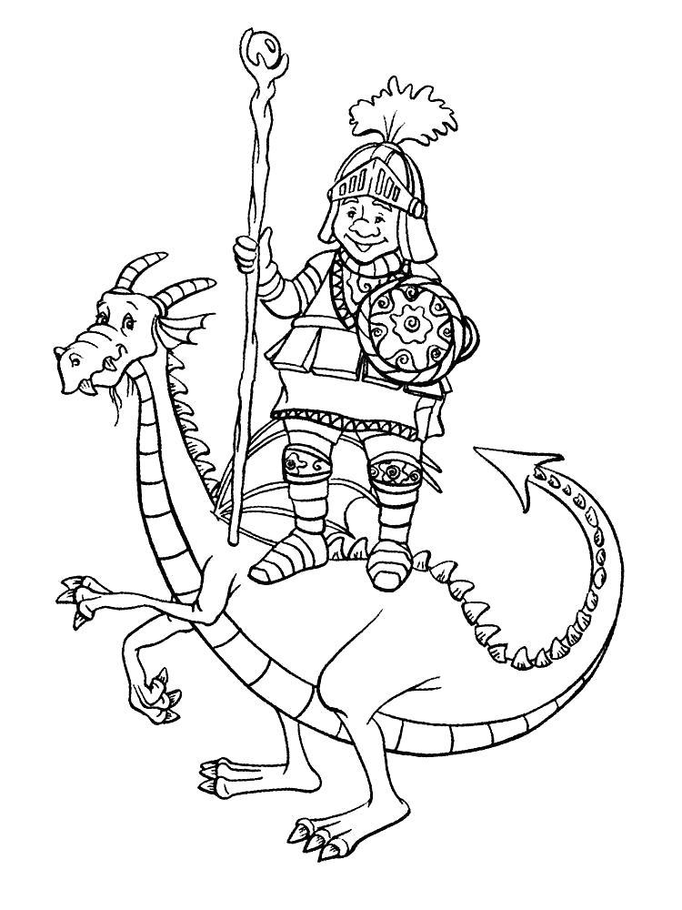 Раскраска Рыцарь на драконе. Скачать рыцари.  Распечатать рыцари