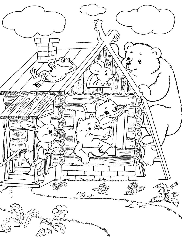 Раскраска Теремок со зверушками -  №406. Скачать Теремок.  Распечатать сказки