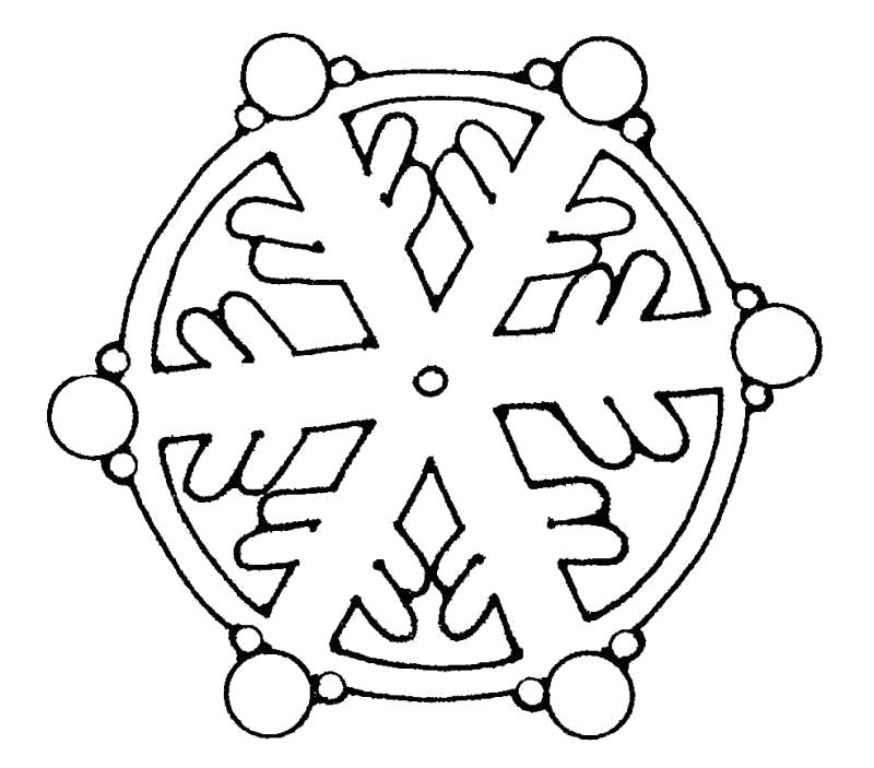 Раскраска Круглая снежинка. Скачать Снежинки.  Распечатать Новый год