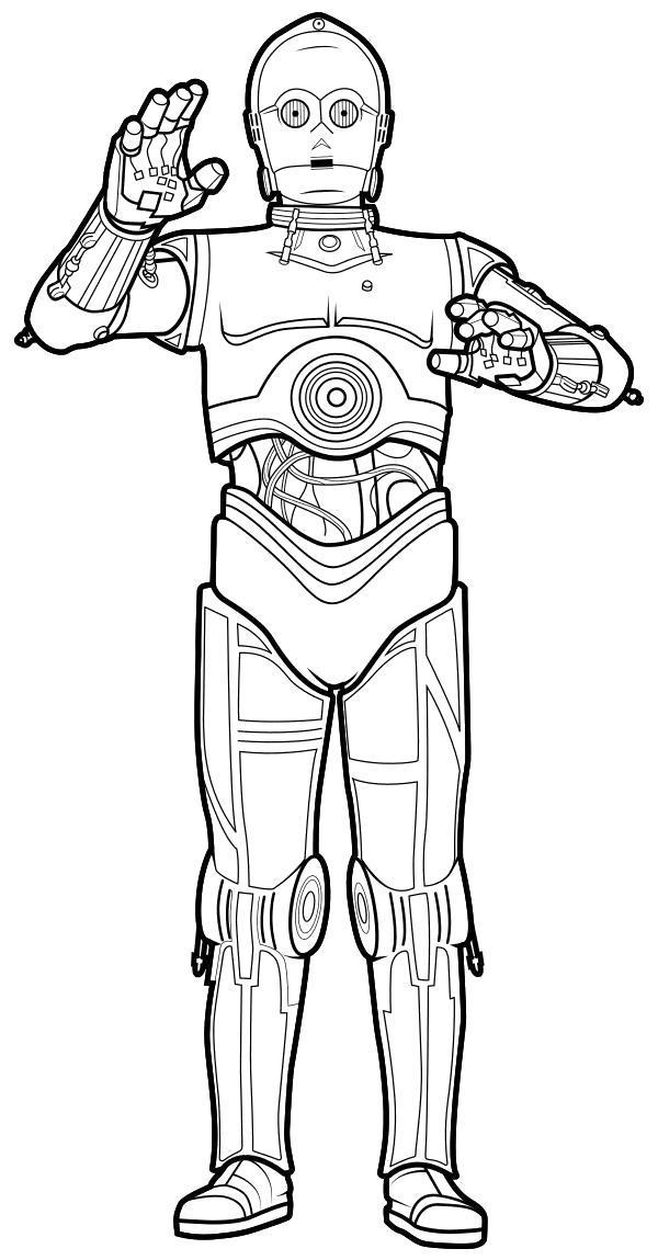 Раскраска  - Звёздные войны: Пробуждение силы - Дроид C-3PO. Скачать .  Распечатать