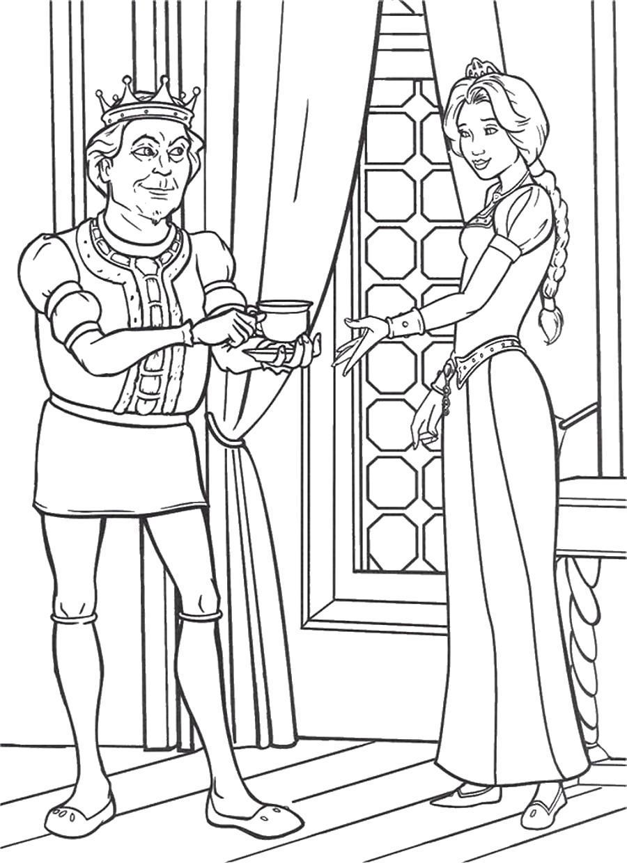 Раскраска Король и Фиона . Скачать .  Распечатать