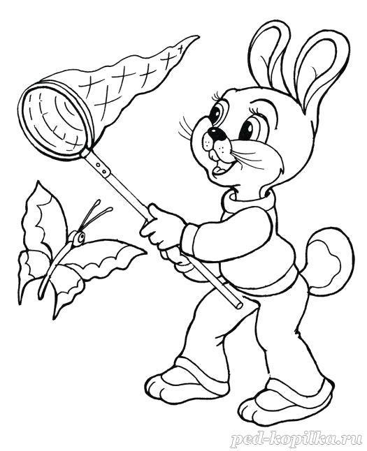 Раскраска  для детей 4-7 лет. Зайчик ловит бабочку. Скачать .  Распечатать