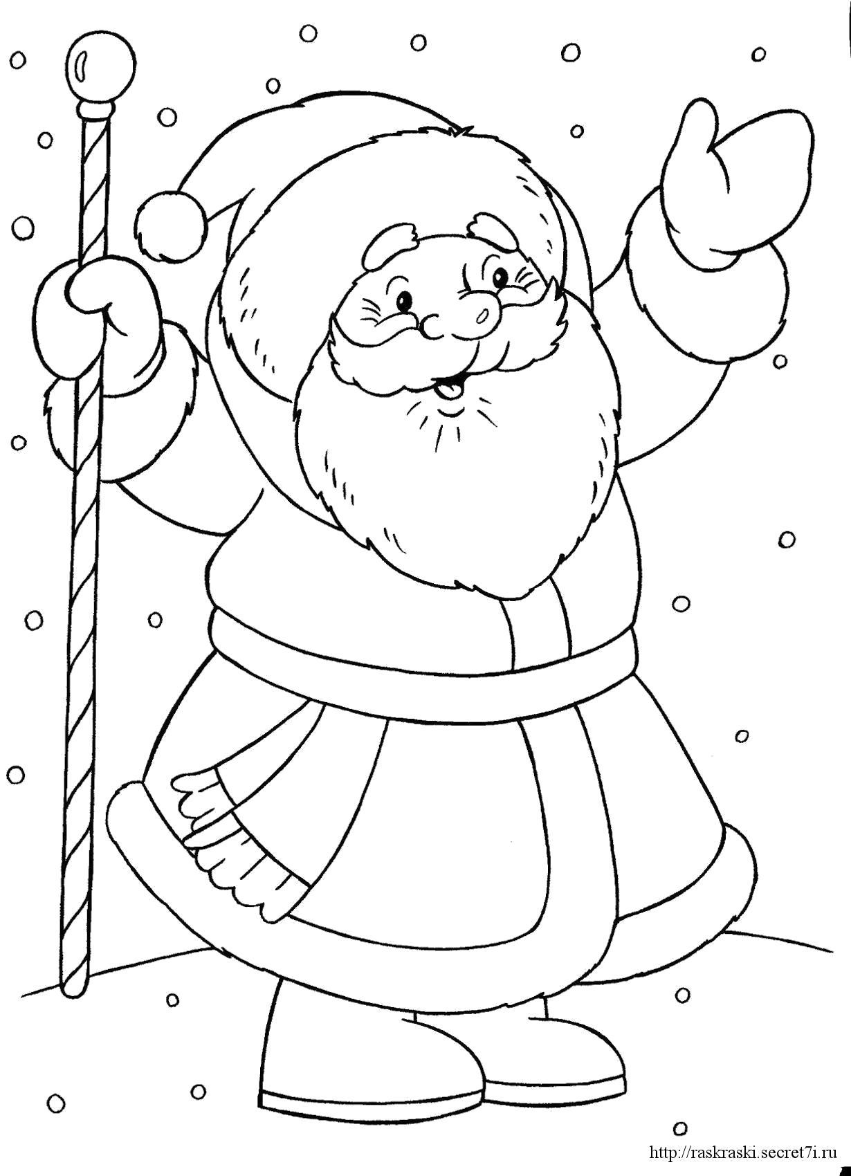 Раскраска дед мороз радуется. Скачать новогодние.  Распечатать новогодние