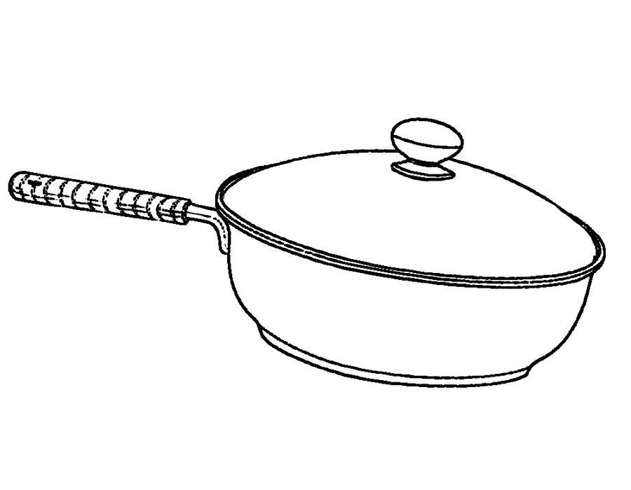 Раскраска  посуда, сковорода для запекания, тушения. Скачать посуда.  Распечатать посуда