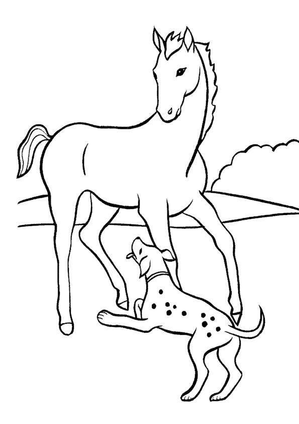 Раскраска В деревне у бабушки. . Скачать Собака, Лошадь.  Распечатать Домашние животные