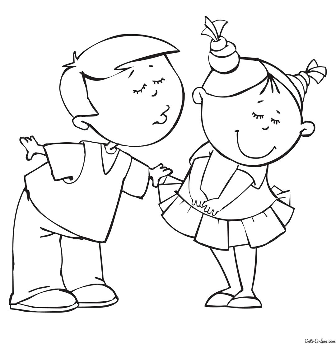 Раскраска  Мальчик целует девочку. Скачать день Святого Валентина.  Распечатать день Святого Валентина