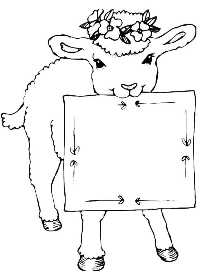Раскраска  Овца в венке из цветов. Скачать Овца.  Распечатать Овца