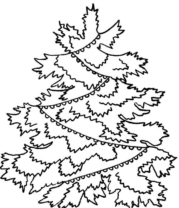 Раскраска  детям  детям, черно-белые картинки, новый год, праздник, зима, елка, еловые ветки. Скачать Елка.  Распечатать Новый год