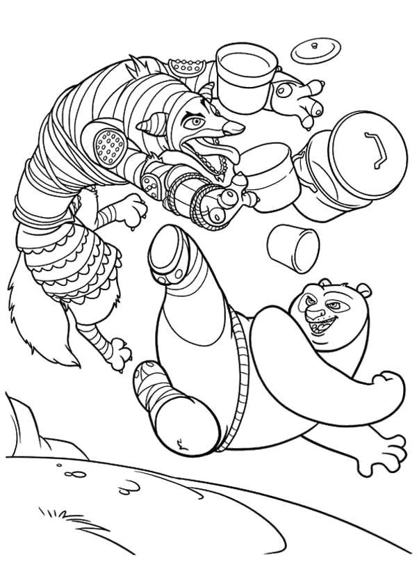 Раскраска Точный удар. Кунг-фу панда. Скачать Панда.  Распечатать Панда