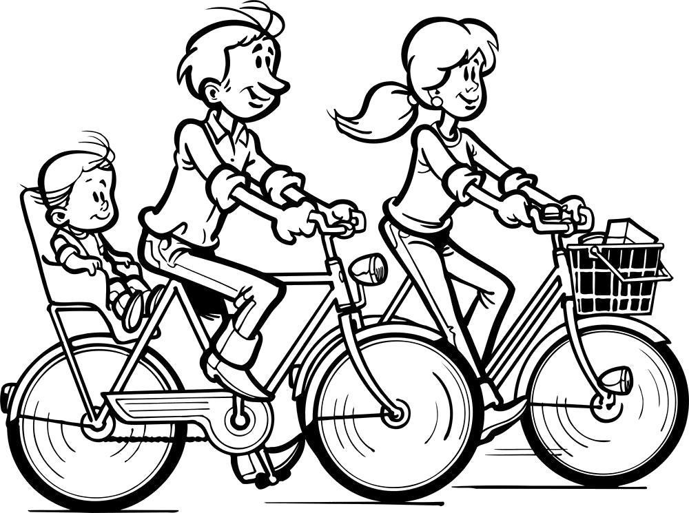 Раскраска  семья на велосипедах. Скачать .  Распечатать