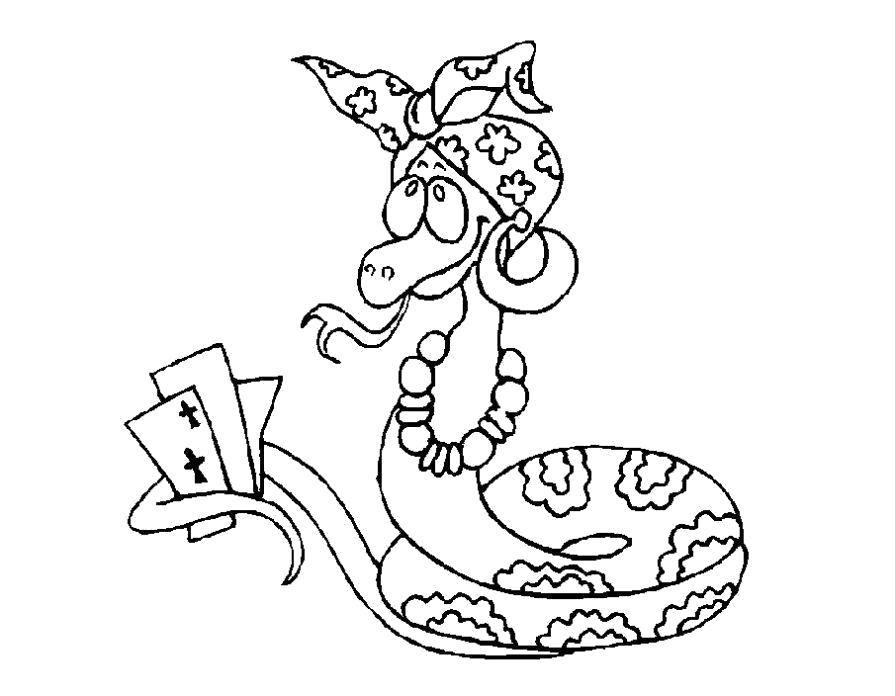Раскраска Змея играет в карты. Скачать Змея.  Распечатать Змея