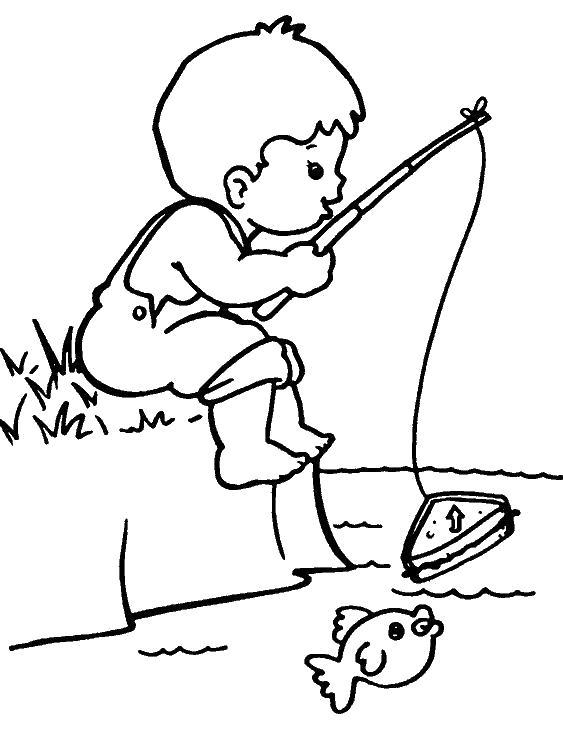 Раскраска Рыбалка мальчика. Скачать рыба.  Распечатать рыба