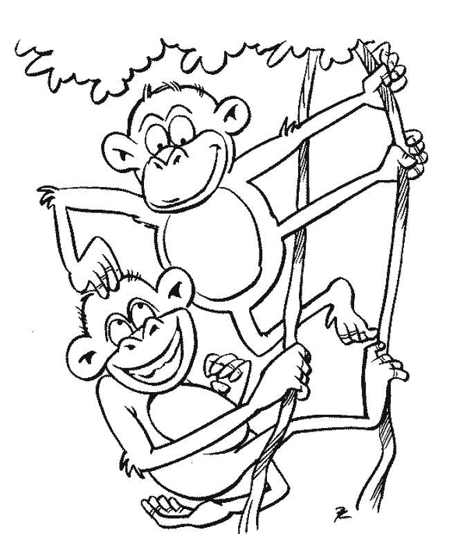 Раскраска Игры обезьянок. Скачать .  Распечатать