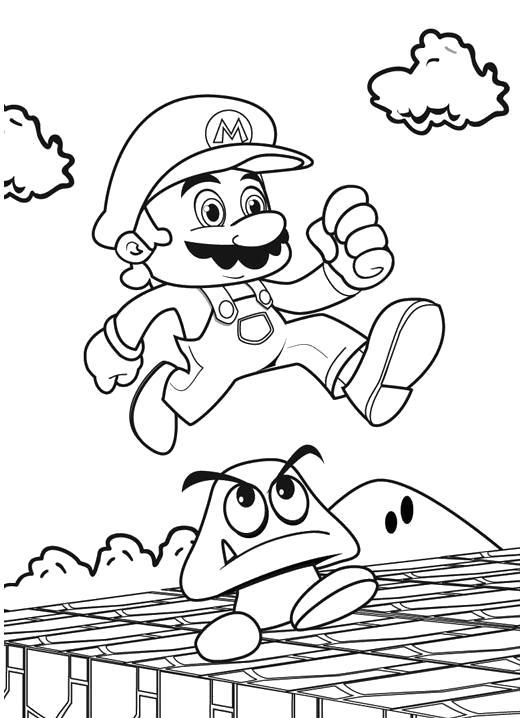 Раскраска Марио в прыжке. Скачать Марио.  Распечатать Марио