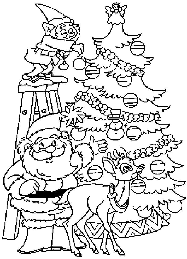 Раскраска Дед мороз  с гномами украшает елку. Скачать Дед мороз.  Распечатать Новый год