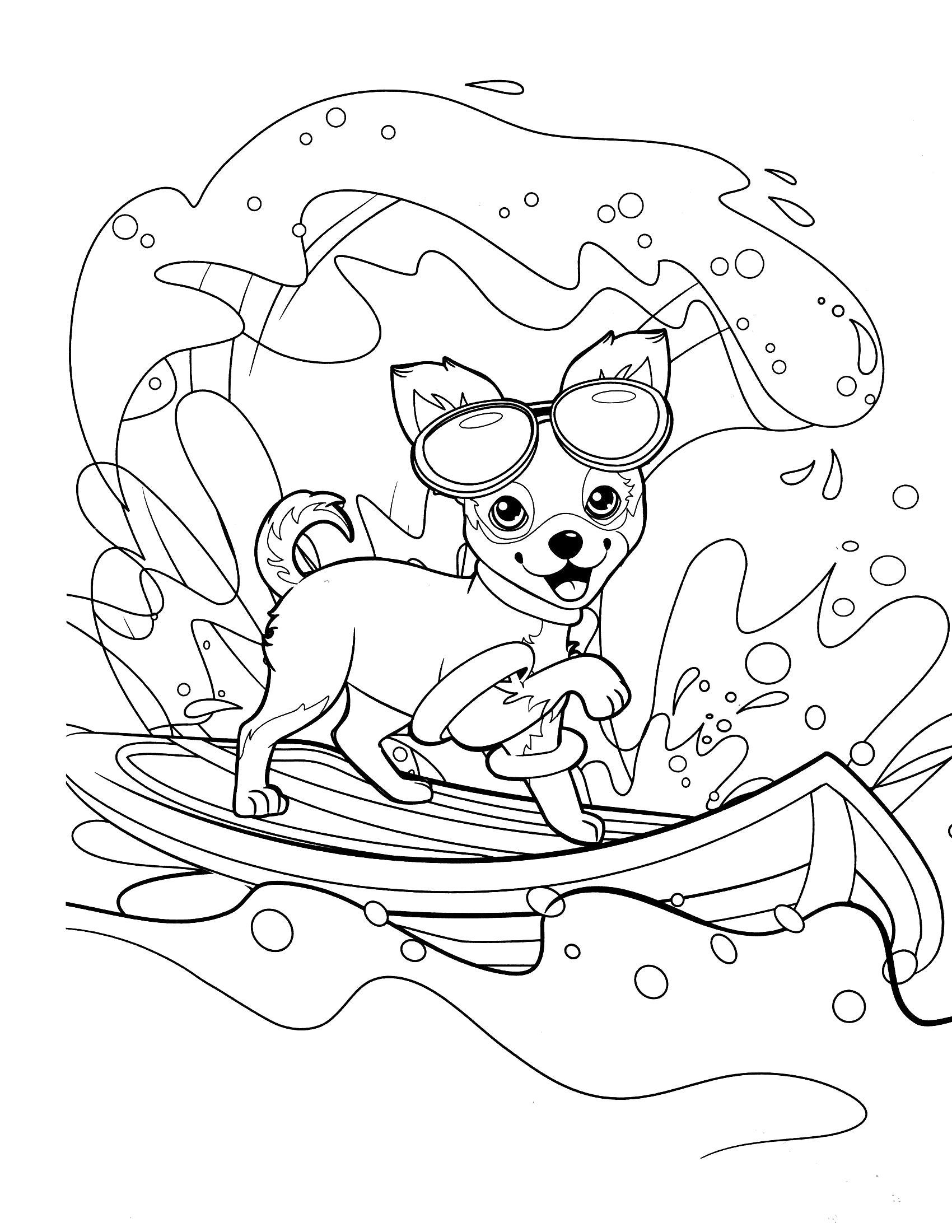 Раскраска Собачка Барби. Скачать барби.  Распечатать барби