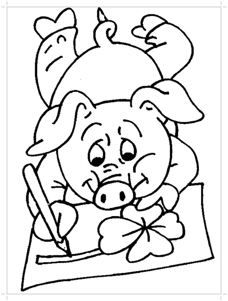 Раскраска  свинья рисует. Скачать Свинья.  Распечатать Домашние животные