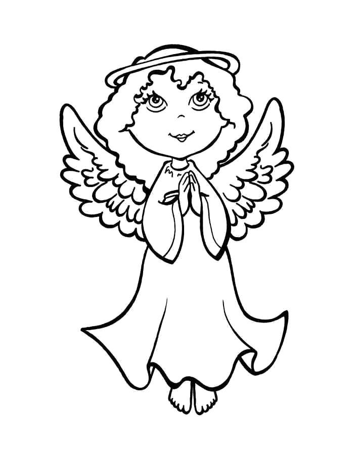 Раскраска  ангелы. Скачать ангел.  Распечатать ангел
