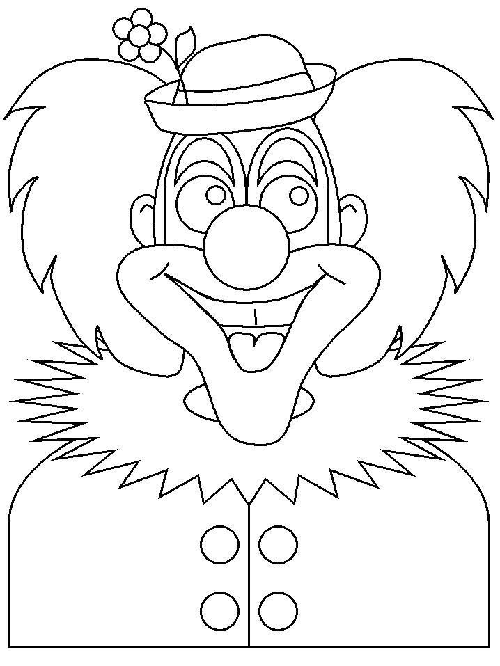 Раскраска клоун в шляпе. Скачать клоун.  Распечатать клоун