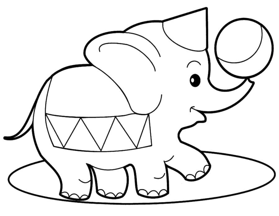 Раскраска слоник играется с мячем. Скачать слон.  Распечатать Дикие животные