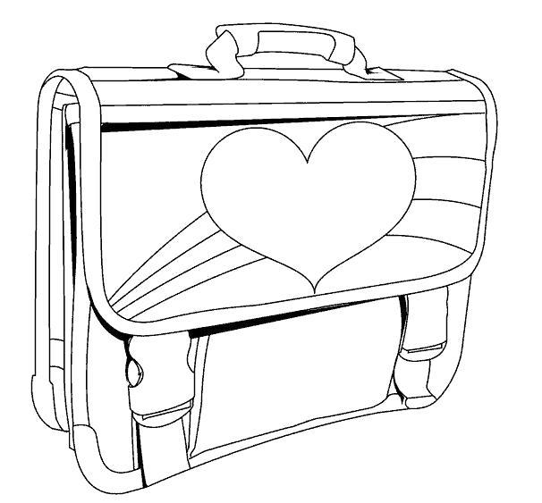 Раскраска Ранец с сердечком. Скачать портфель.  Распечатать портфель