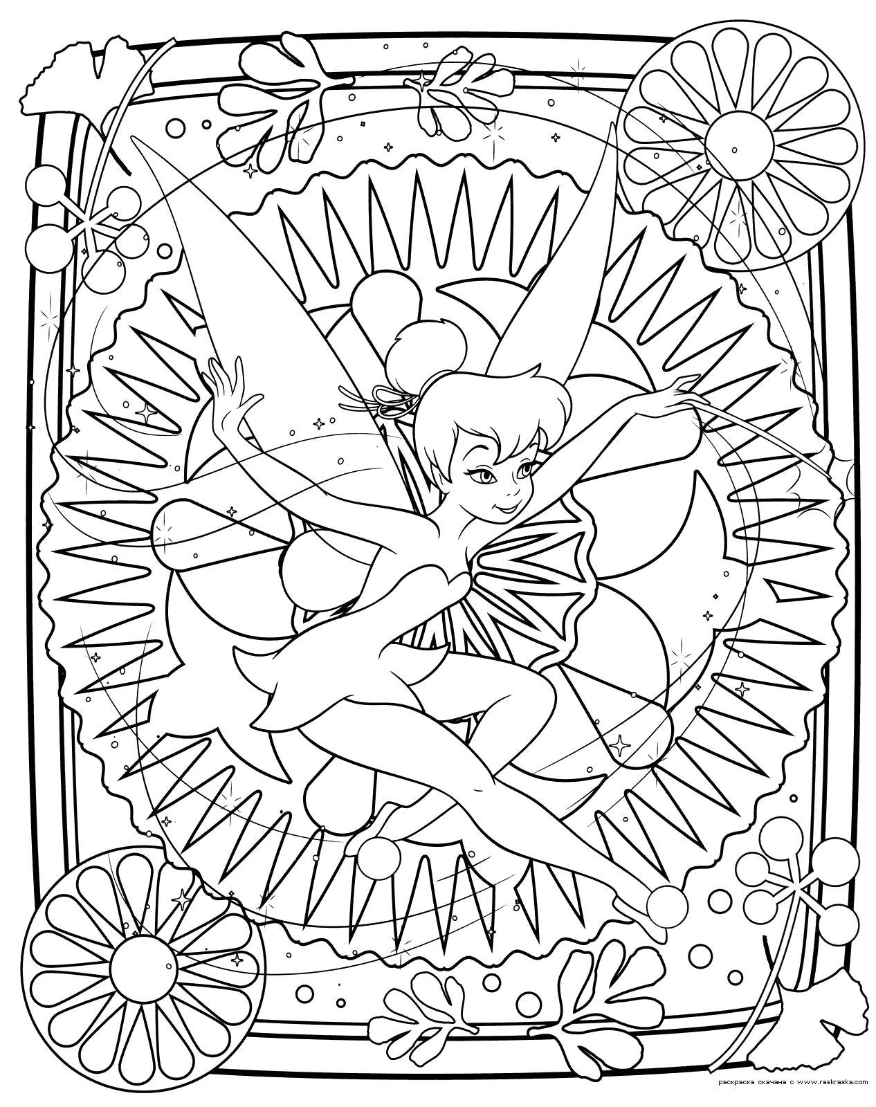 Раскраска   феи Динь-Динь.  Разукрашка из мультфильма Феи.  для девочек Динь-Динь - это маленькая фея. Скачать фея.  Распечатать мифические существа