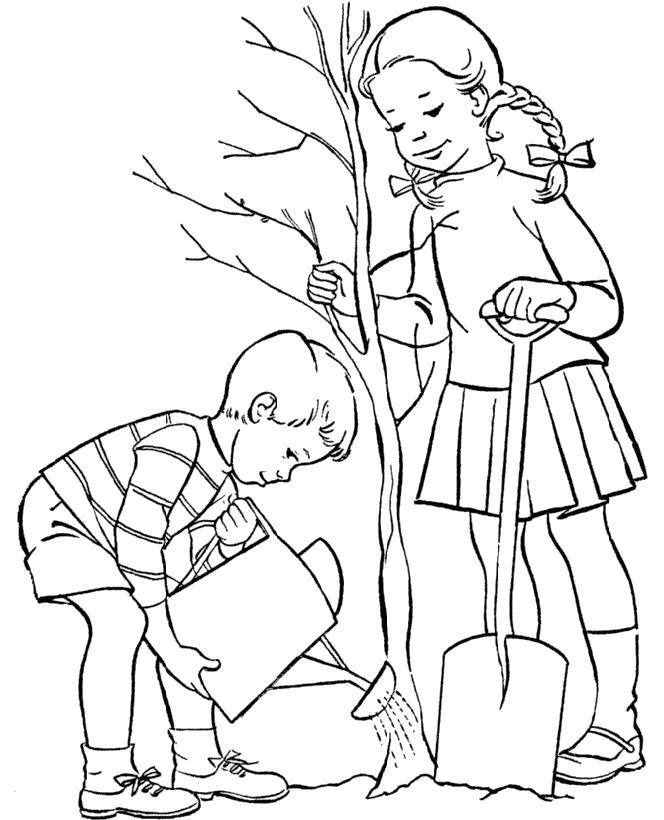Раскраска Ребята сажают дерево. Скачать деревья.  Распечатать деревья