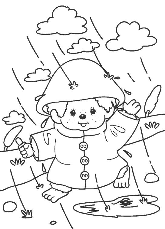 Раскраска Малыш в дождевике . Скачать дождь.  Распечатать дождь