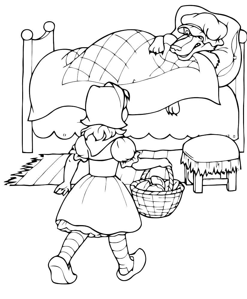 Раскраска пришла к бабушке. Скачать красная шапочка.  Распечатать красная шапочка