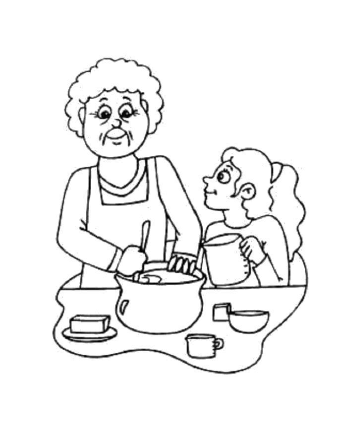 Раскраска Бабушка учит готовить внучку. Скачать .  Распечатать