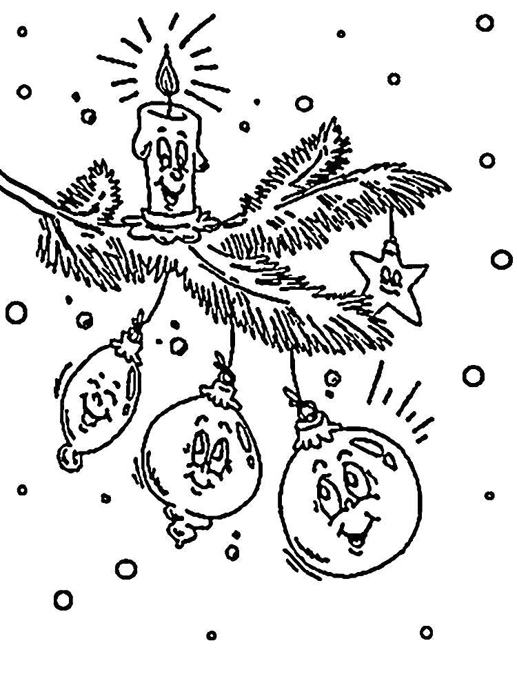 Раскраска новогодние , елочное украшение, елочные игрушки. Скачать Елочные игрушки.  Распечатать Новый год