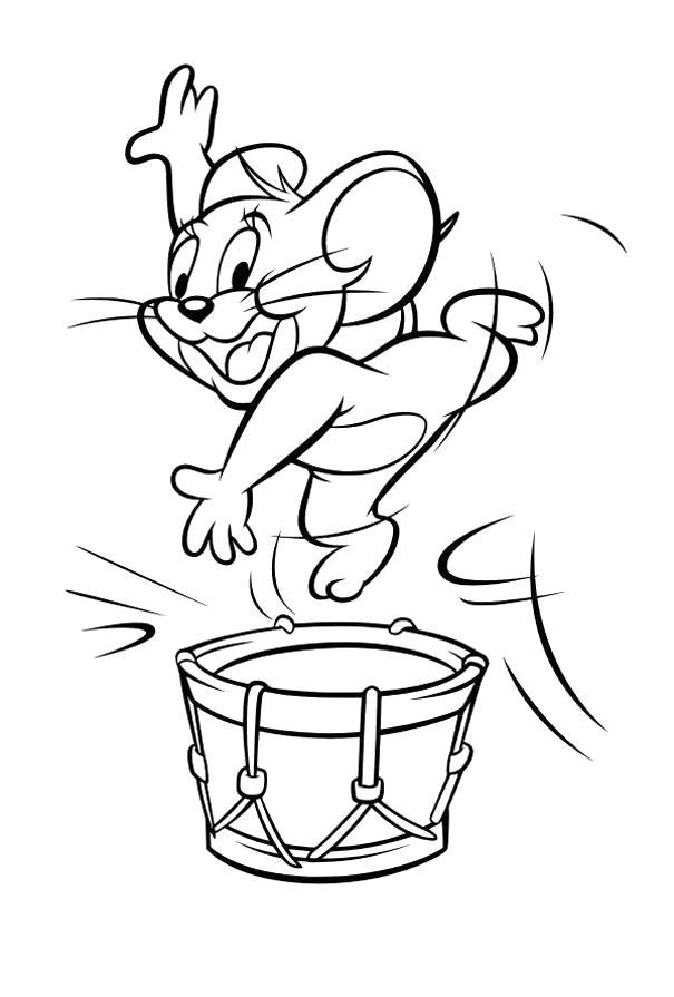 Раскраска  том и джерри мышонок танцует. Скачать Барабан.  Распечатать Барабан